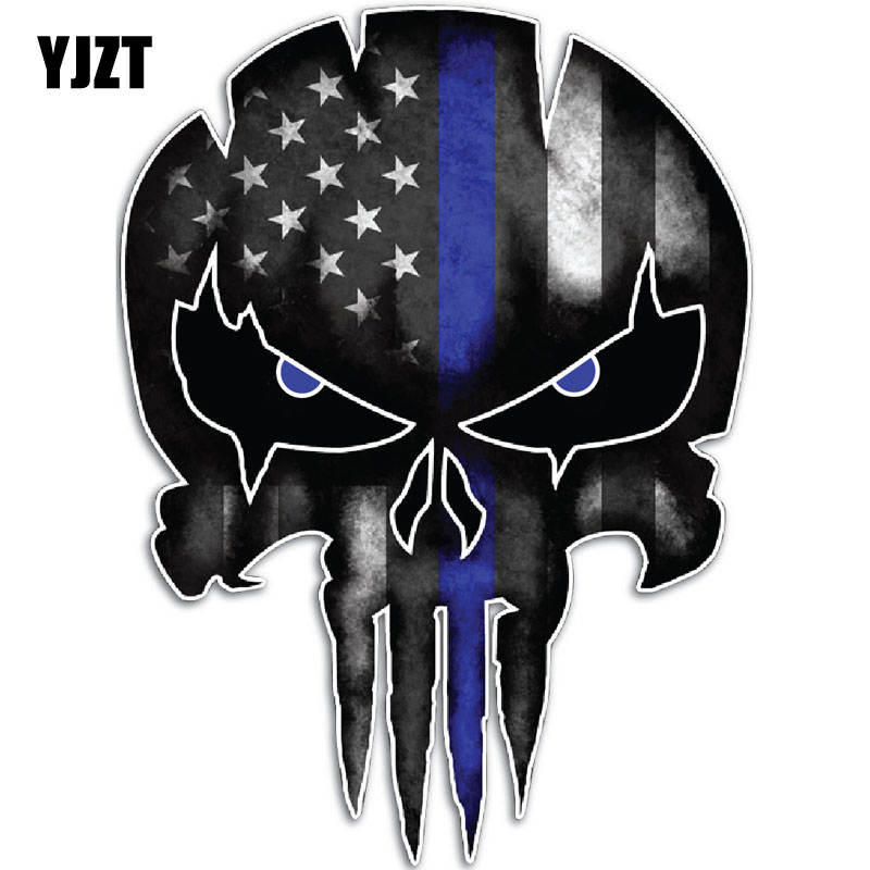 YJZT 9.5CMX13CM Thin Blue Line Punisher Skull Reflective Personalized Car Stickers Motorcycle Decals C1-6037