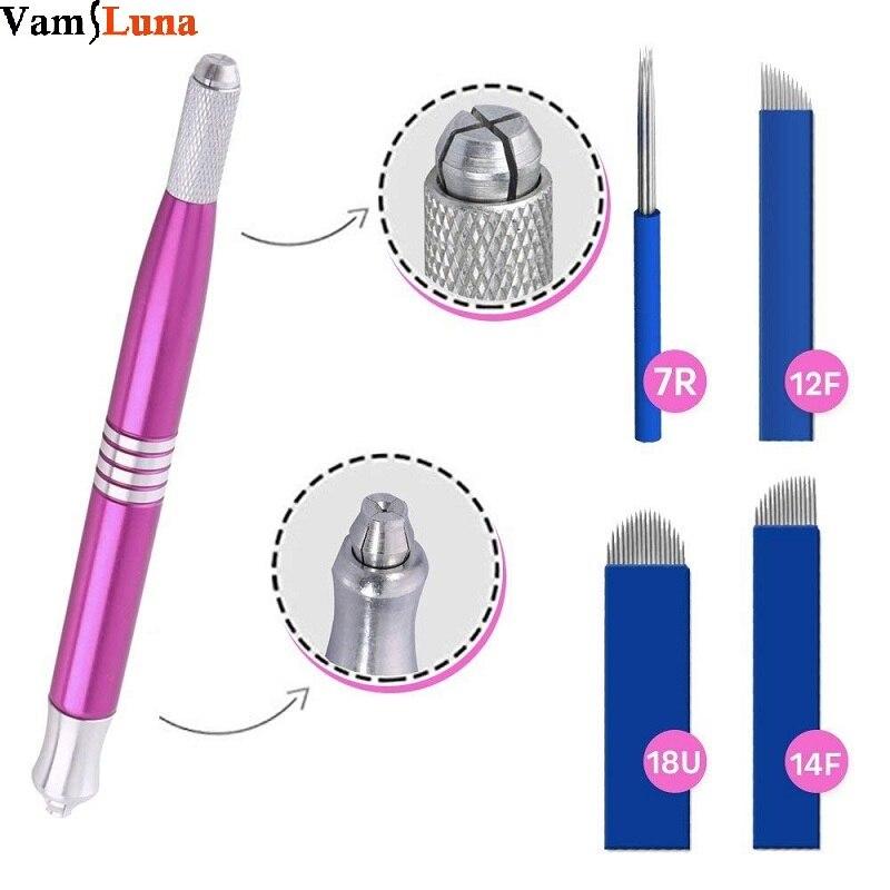 Ручка для микроблейдинга двухсторонняя ручная ручка для татуажа бровей с 4x иглами для перманентного макияжа