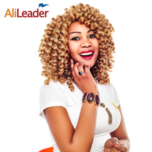 AliLeader Hair Products Crochet Braid Curly Hairstyle, Black Brown Blonde Burgundy Braiding Hair Short Jamaican Bounce Curl 3pcs(China)