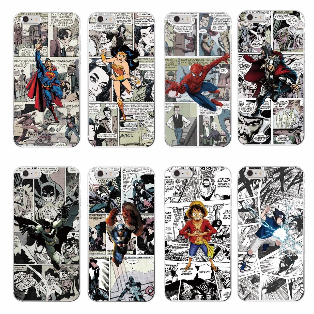 Cartoons <font><b>Marvel</b></font> <font><b>Comics</b></font> Batman <font><b>Spider</b></font> <font><b>Man</b></font> Wonder woman Captain America Soft Phone <font><b>Case</b></font> <font><b>For</b></font> <font><b>iPhone</b></font> 7 7Plus <font><b>6</b></font> 6S 6Plus 5 5S SE 5C