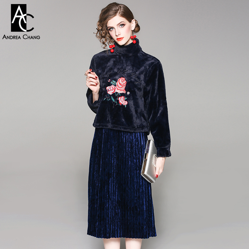 Autumn Winter Woman Clothing Set Red Floral Pattern Embroidery