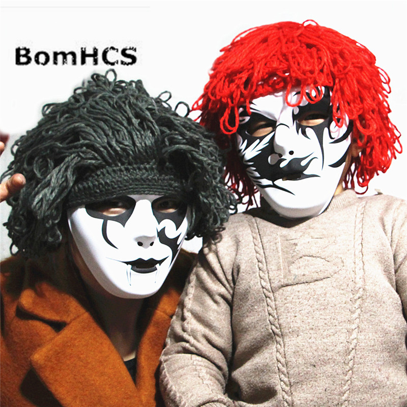 Aspiring Bomhcs Funny Halloween Prop Wigs Hat + Cool Mask Handmade Knitted Winter Thick Beanie Cap Gift