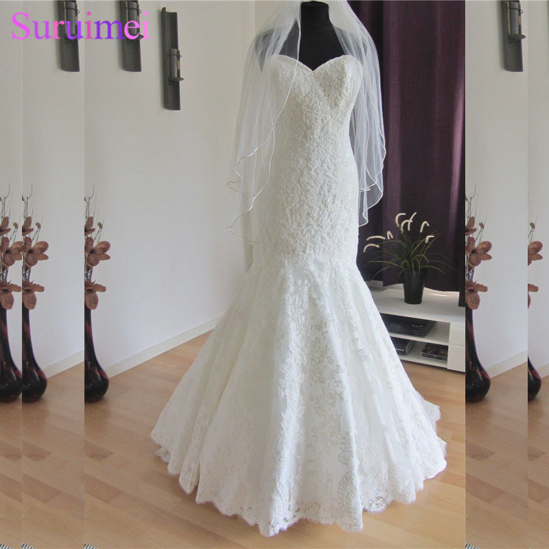 Real Sample With Veils Free Mermaid Lace Applique Wedding Dresses Back With Buttons Free Shipping