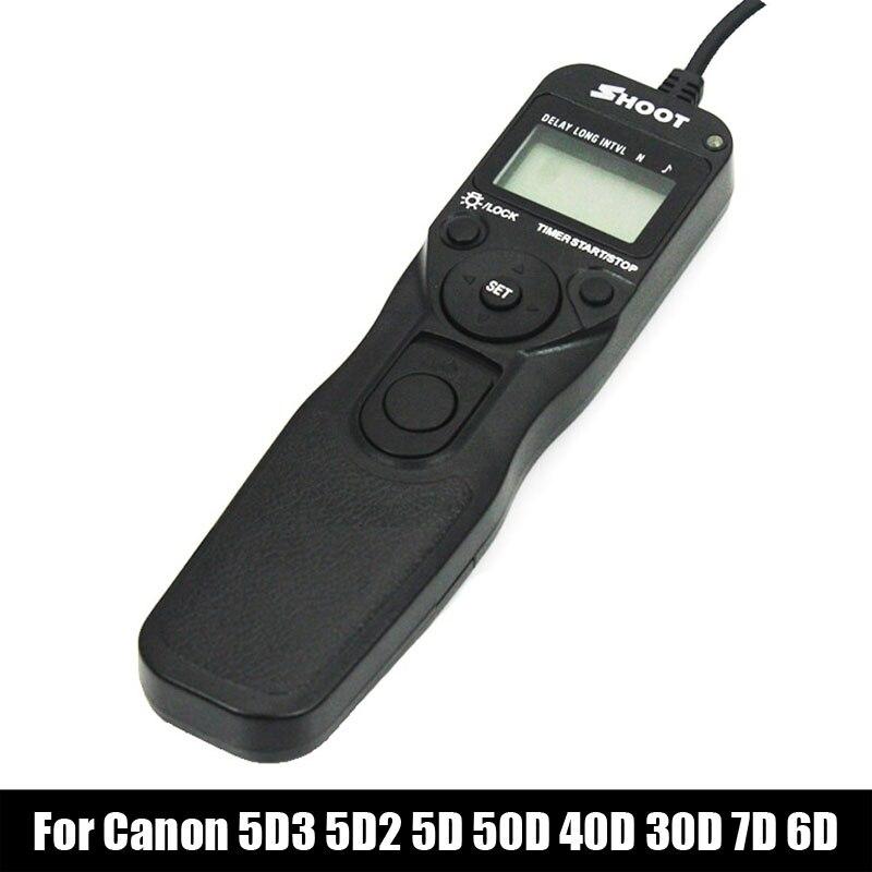 New Shoot RS-80N3 Selfie LCD Timer Remote Control Shutter Release Cable For Canon EOS 5D3 5D2 7D 6D 5D 50D 40D 30D 20D 10D 1DX