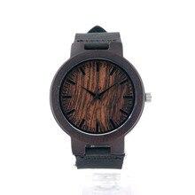 Relojes Hombres Y Mujeres Relojes de Moda 2016 Reloj De Madera Negro Para Regalo Con Correa De Piel Genuina