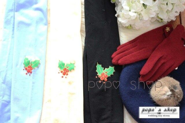Princess sweet lolita pantyhose  Lovely Japanese lolita harajuku Christmas berries stereoscopic printing velve pantyhose LKW58