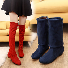 Size 35-43 Womens Boots Autumn Winter New Over The Knee Low Heel Cotton 2018 Flock Square Martin Female