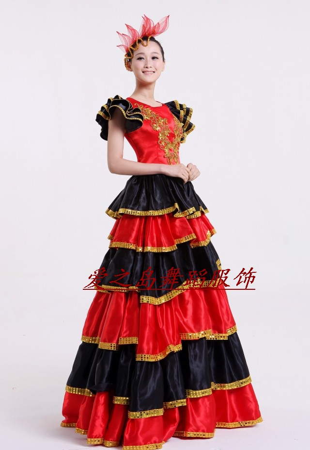 New arrived bust skirt spanish bull dance clothes costume performance