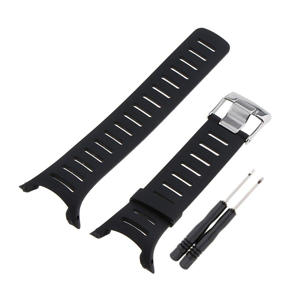 Rubber Wristwatch Bands for SUUNTO T1 T1C T3 T3C T3D T4C T4D Black Accessory Strap Replacement