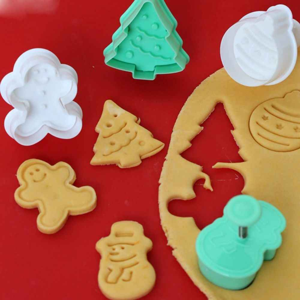 4pcs Cookie Stamp Biscuit Mold 3d Cookie Plunger Cutter Diy Baking Mould Gingerbread House Christmas Cookie Cutters