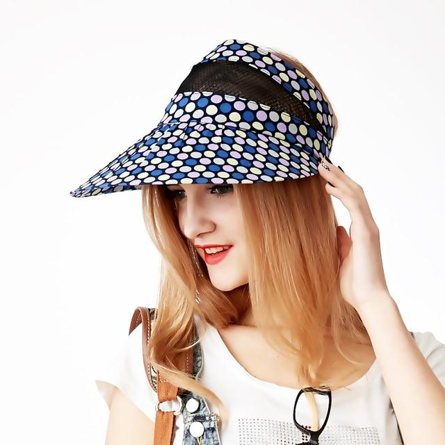 2016 moda para mujer verano sombrero protector solar sol shading alta calidad exterior visera colorido punto capsula los sombreros