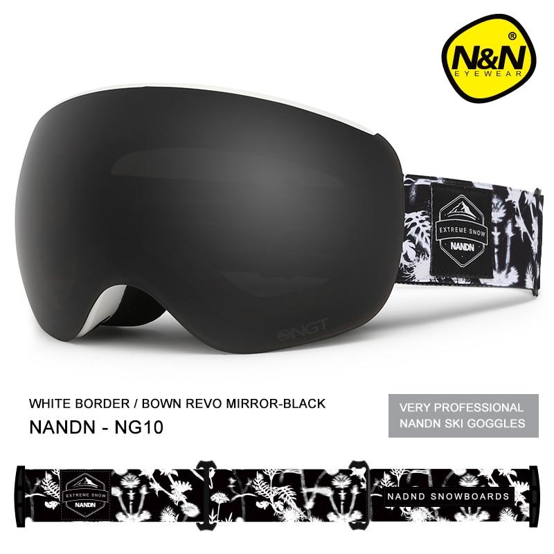 NANDN neige lunettes de Ski Double couche lentille Anti-buée protection uv hommes femmes aimant lentilles snowboard