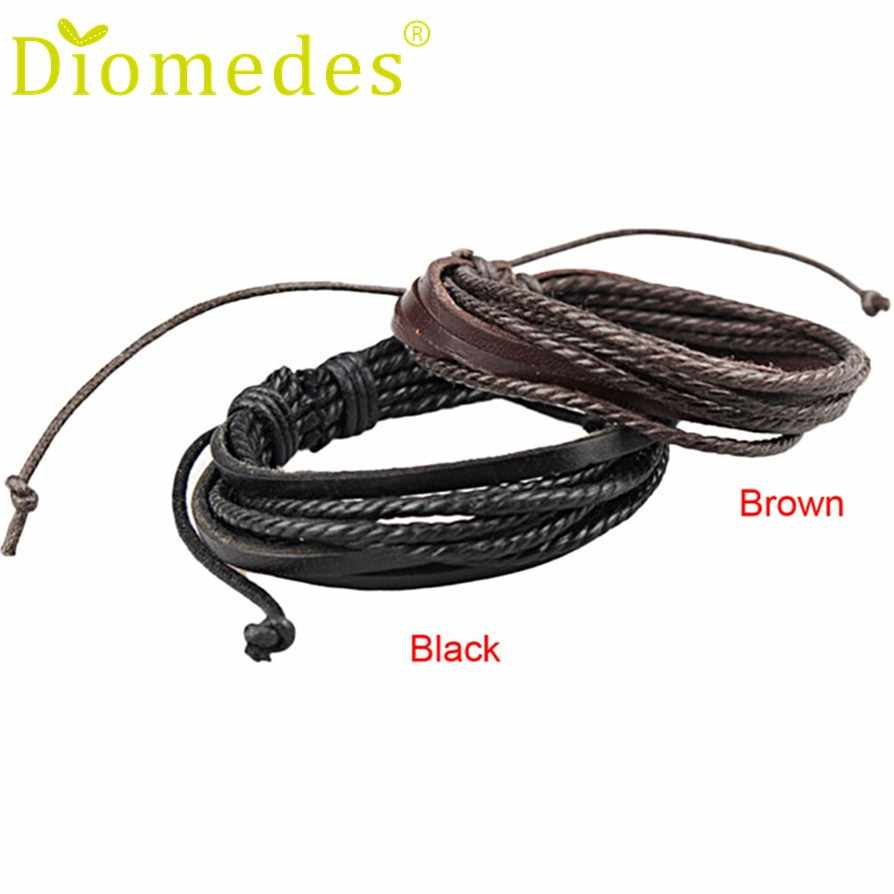 Gussy Life wholesale Fashion Men Women Wrap Leather Bracelets bangles Braided Rope Enrole pulseiras de couro