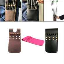 6 Arrows Holder Portable Quiver Bag Microfiber Leather Bow Belt Arrow Tubes Strap Hunting Archery