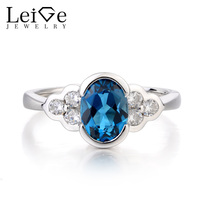 Leige Jewelry Promise Ring London Blue Topaz Silver Ring November Birthstone Oval Cut Blue Gemstone Solid