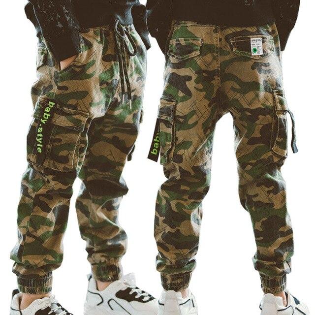 Chłopięce spodnie spodnie sportowe chłopięce spodnie kamuflażowe bawełniane 2020 wiosenne jesienne spodnie dla dzieci Boys Baby Casual spodnie 10 12 lat spodnie dla dzieci