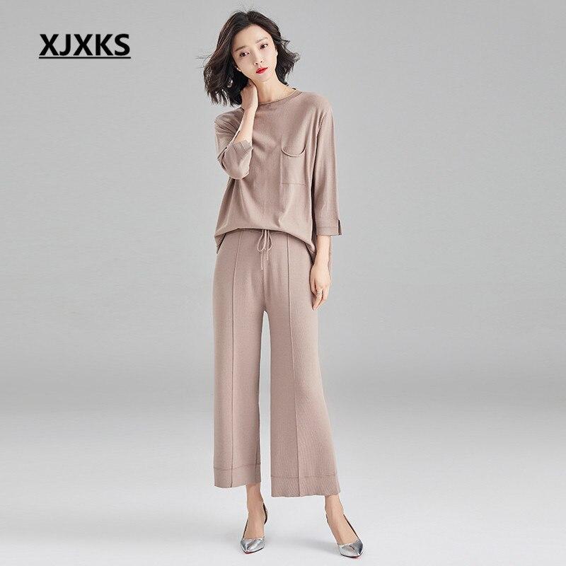 XJXKS Women s two piece fashion Three Quarter sleeve top elastic waist nine pants 2019 spring