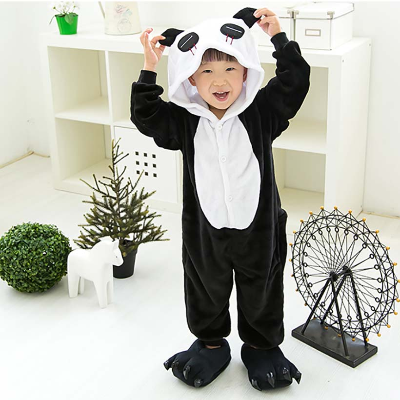 Children Clothing Panda Animal Pajamas Cosplay Costumes Unisex robe kids clothes Boys Girls Flannel Sleep Tops Onesies Pyjama