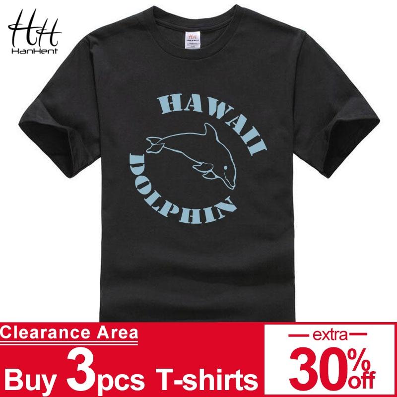 HanHent manar den korta muffen för Hawii Dolphin den tryckta T-tröja Roliga utslagsplatsen Den Hipster O-neck kyler överdelskjortan Heren TH5333