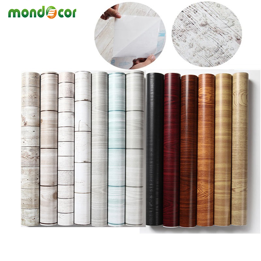 Waterproof Vinyl Self Adhesive Wallpaper Sticker Kitchen Cabinets Shelf Drawer Liner Wall Decals Door Wood Grain Contact Paper