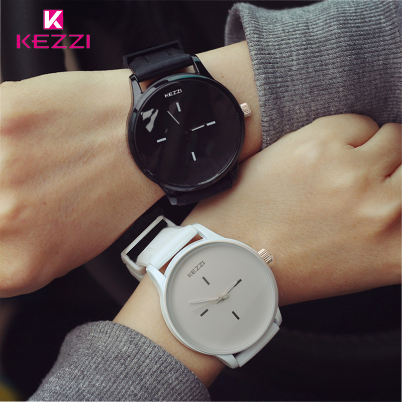 Kezzi Brand Waterproof Black White Couple Watches Tables Fashion Harajuku Analog Big Dial Men Women Silicone Watch Dress Clock