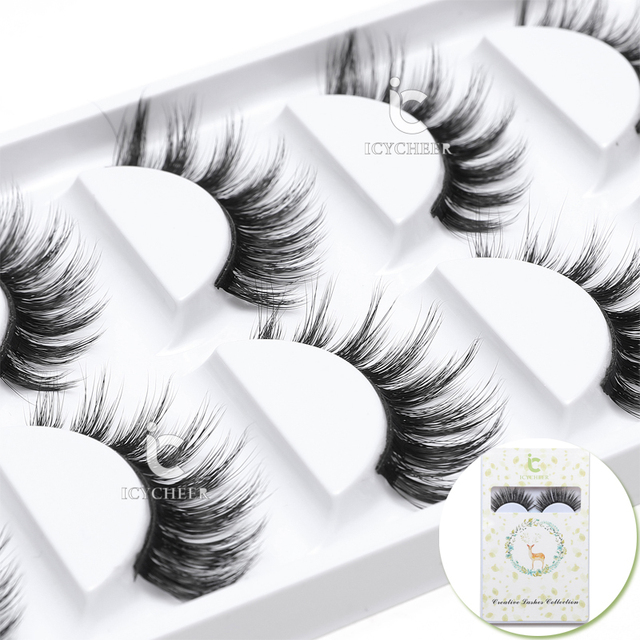 0554624b047 ICYCHEER 5 Pairs/1 set 100% 3D Mink Hair False Eye Lashes Extension Makeup  Cross Thick Super Natural Long Fake Eyelashes New