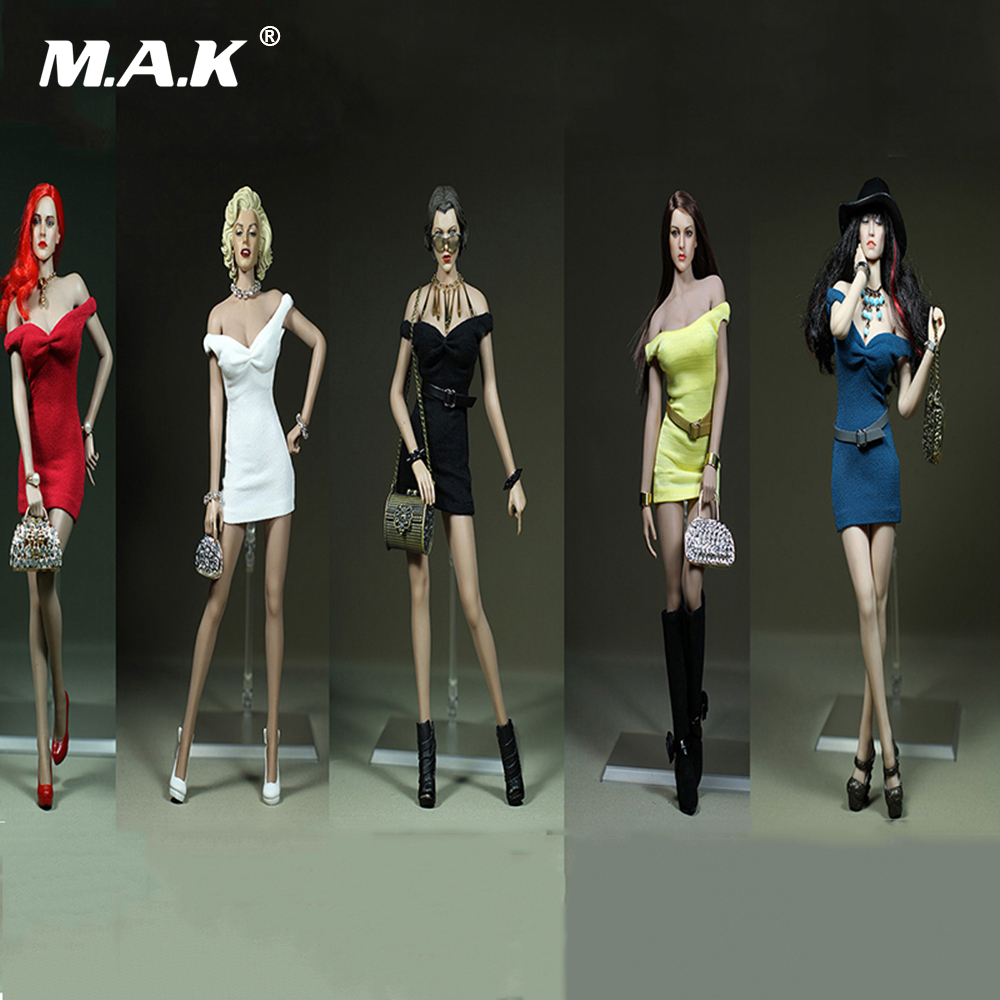 1:6 Scale Sexy Female Clothes Mini Skirt Dress White/Black/Green/Yellow/Red for 12 Big Bust Action Figures body 1 6 purple female sexy leather skirt dress suit clothing model toys for 12 female action figures body accessory