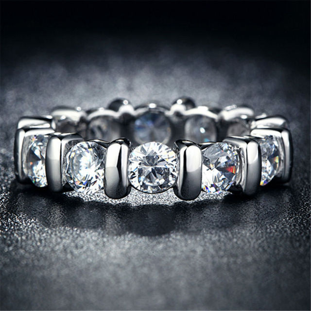 New Jewelry  Rings For Women Princess Cut engagement wedding female rings  white gold plated Silver Jewelry L162