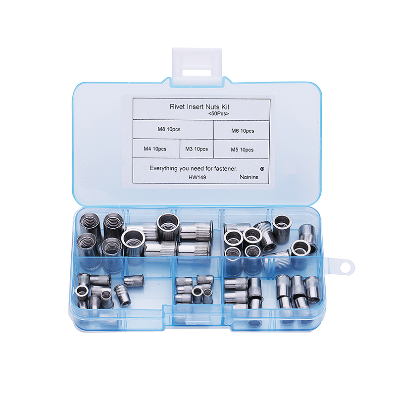 50Pcs/set M3 M4 M5 M6 M8 304 Stainless Steel Rivnut Small Countersunk Head Riveted Nuts Insert Nutsert Cap Rivet Nut Kit HW149