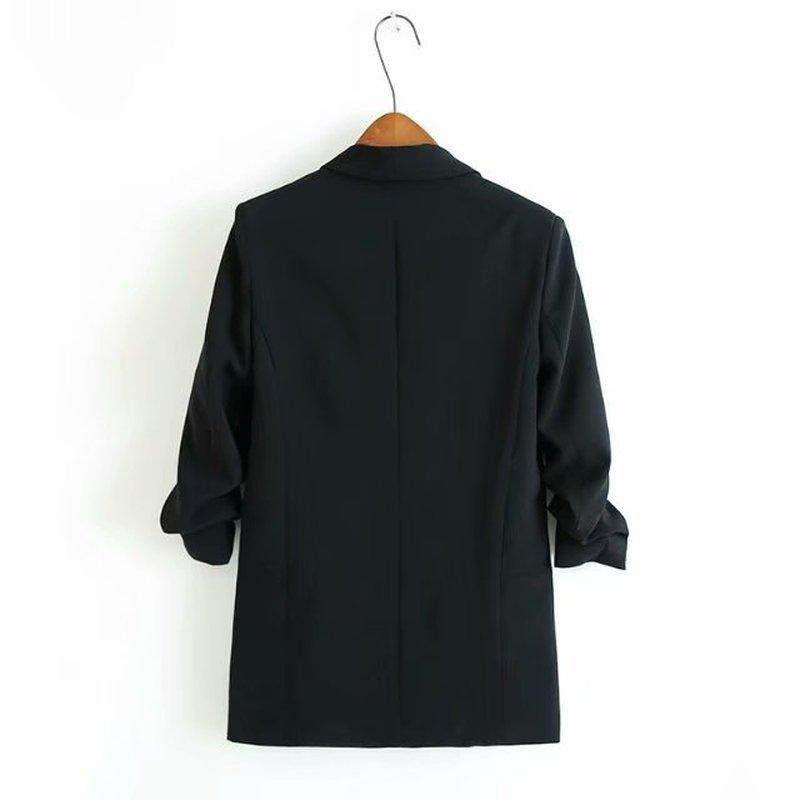 Solide Casual Luxe Femme Noir Soie Manteaux Couleur Automne Blazer De 1 Manchette Femmes 3 Vêtements Veste 2 Manches Streetwear fqRYX7Xx