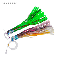 Holoseen 30cm resin epoxy Head Octopus Biat Tuna Lure Sea Bass Fishing Lure Marlin Bait Artificial Bait with carbon hook