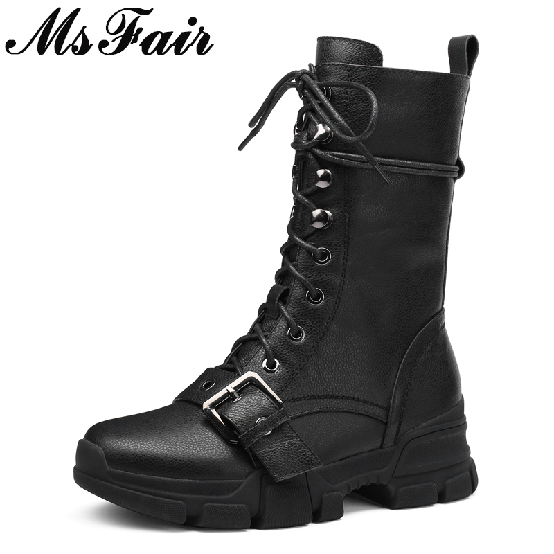 MSFAIR Round Toe Flat With Women Boots Fashion Zipper Thick Bottom Ankle Boots Women Shoes Buckle Black White Boots Shoes Woman autumn winter fashion women boots zipper buckle round toe flock women motorcycle boots women shoes thick heel ankle boots