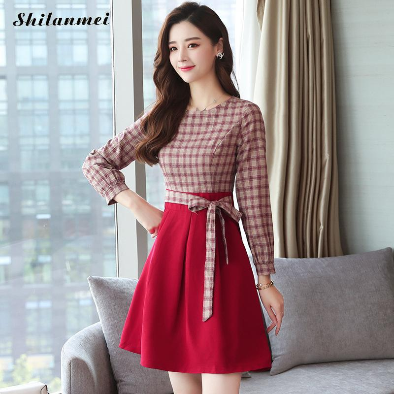 Plaid Slim New 2018 Autumn Long Sleeve Shirt Dress Women Fashion Round Collar Casual Graceful Female A Line Dresses Vestidos 1