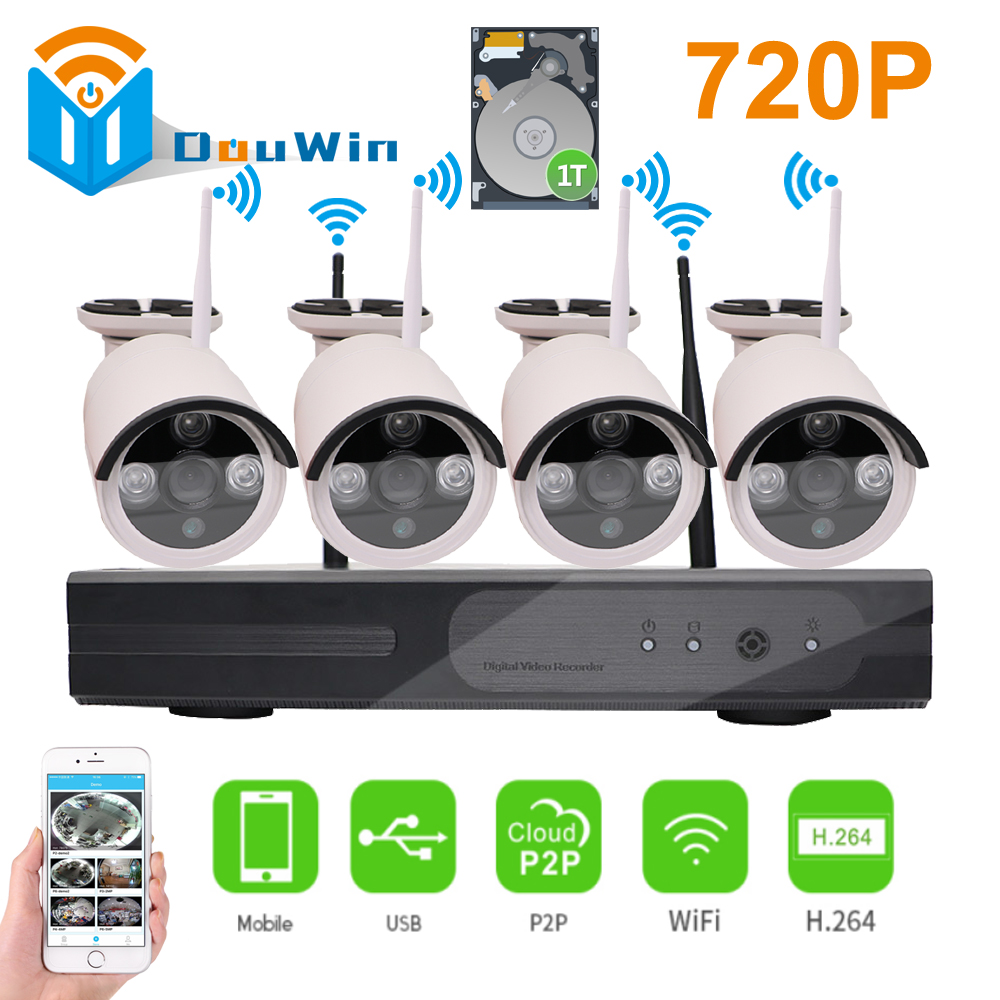 Wireless Surveillance System 720P 4ch HD wi-fi NVR kit Outdoor IR Night Vision IP Wifi Camera Security CCTV Wireless Camera Kit