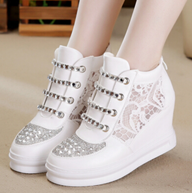cd61bcf3a13 Autumn Hot Sales Rhinestone Women Platform Sneakers White High-Top Sneakers  Heigeht Increasing Summer Lace Wedges Sneakers Shoes