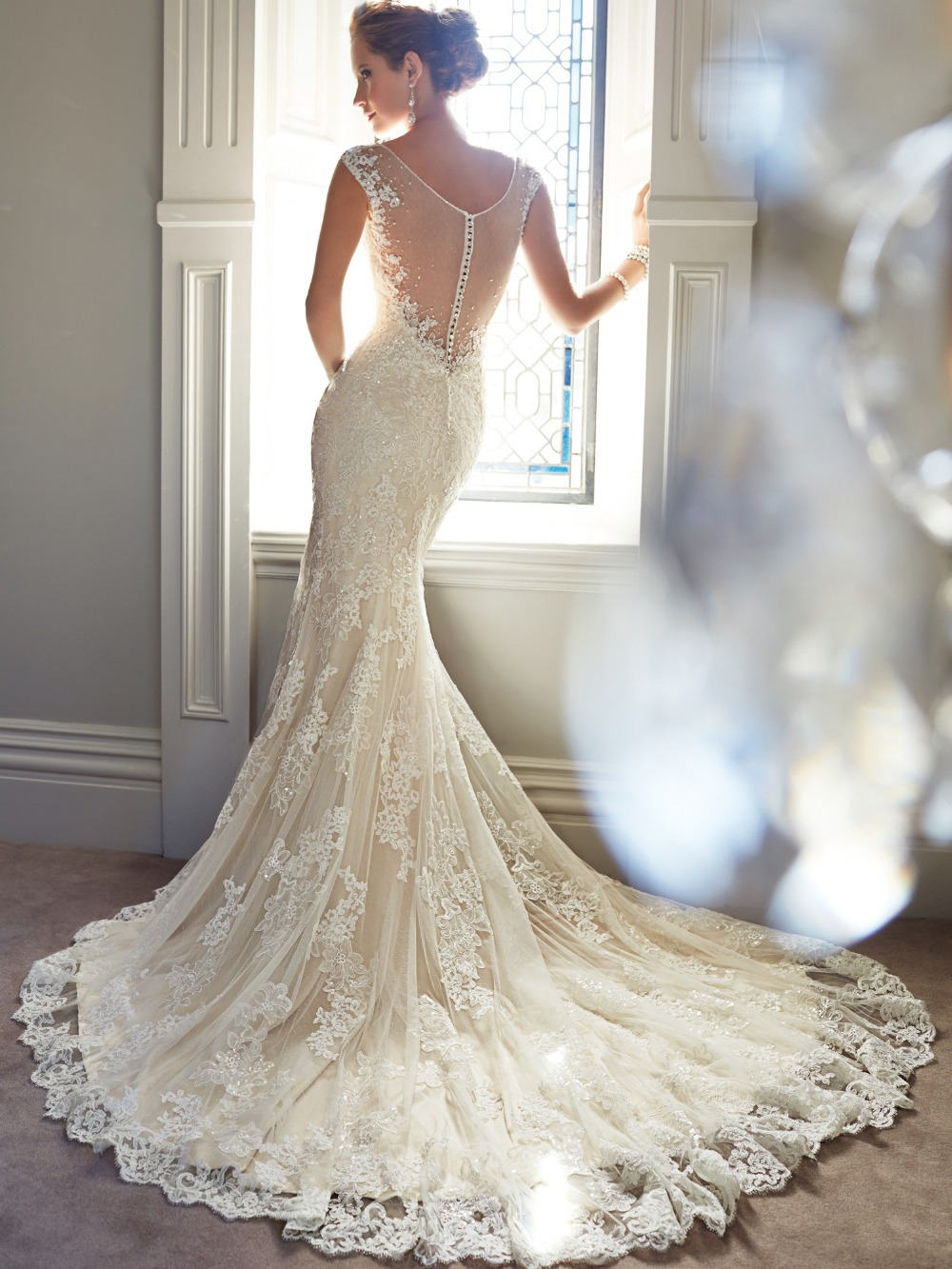 Lace Mermaid Wedding Dress with Sheer