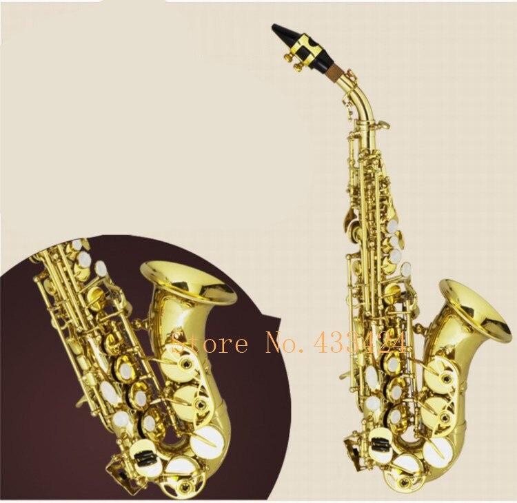 Henlucky HY-398WG Bb Soprano plier Saxophone courbé cloche B plat Saxe Instrument de musique Saxofone pour adultes enfants