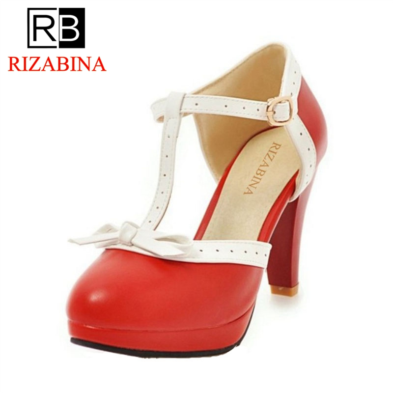 RIZABINA Size 32-48 High Heel Women Sandals bow Wedding Shoes Women's Square Heels Sandals Round Toe Platform Shoes Footwear women platform high heel sandals shoes woman sexy heels quality wedding fashion footwear summer shoes lady size 32 45 g875 79