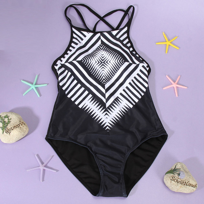 Womens One piece Swimsuit Geometric Backless Sexy Monokini 2019 Female Swimming Suit Beach Bathing Suit Swimwear Plus Size S 3XL in Body Suits from Sports Entertainment