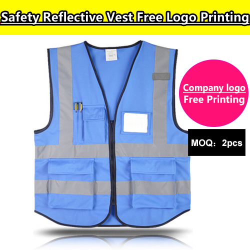 SPARDWEAR blue safety vest /gilet with pockets free print logo name print customized screen printing logo reflective vest поло print bar astralis logo