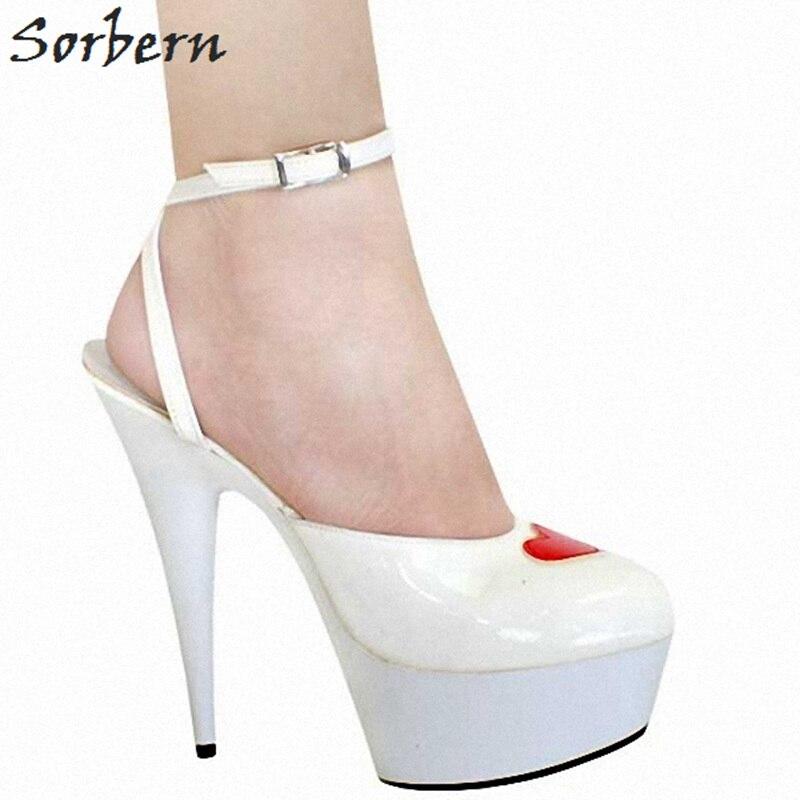 Sorbern белый каблуки Для женщин Обувь на высоких каблуках Mary Jane обувь Дизайнерская обувь Роскошная обувь Для женщин дизайнеры DIY красное сердц...