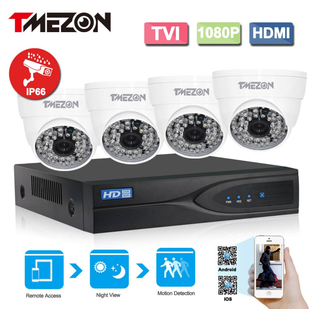 Tmezon 4CH 1080P TVI DVR 4pcs 2.0MP 1080P TVI Camera Security Surveillance CCTV System IR-Cut Night Vision Up to 40 Meter Kit new arrival genuine leather wallets women card holders purse 2017 sexy ladies clutch money bag leather handbags