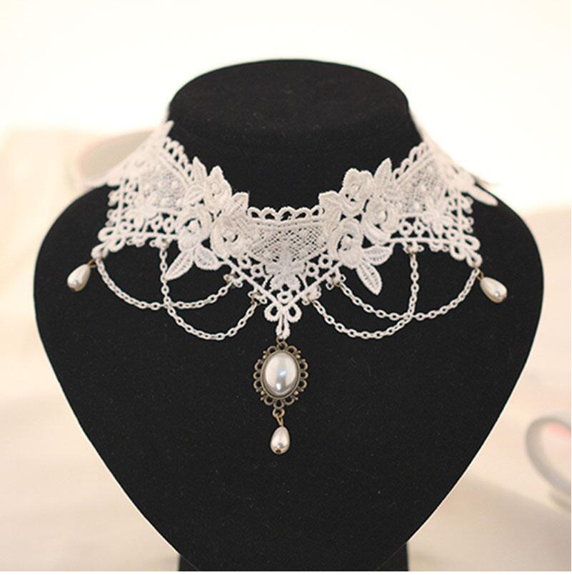 Imitation Pearl White Black Lace Choker Necklaces Bridal Jewelry Women Wedding tattoo Tassel Punk Style Lace Pendant(China)