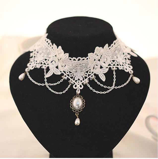 Imitation Pearl White Black Lace Choker Necklaces Bridal Jewelry Women Wedding t