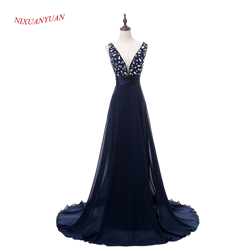 NIXUANYUAN 2017 Custom Made Navy Blue Chiffon   Evening     Dress   2017 V Neck A Line Formal Gowns Elegant Crystal vestidos de noite