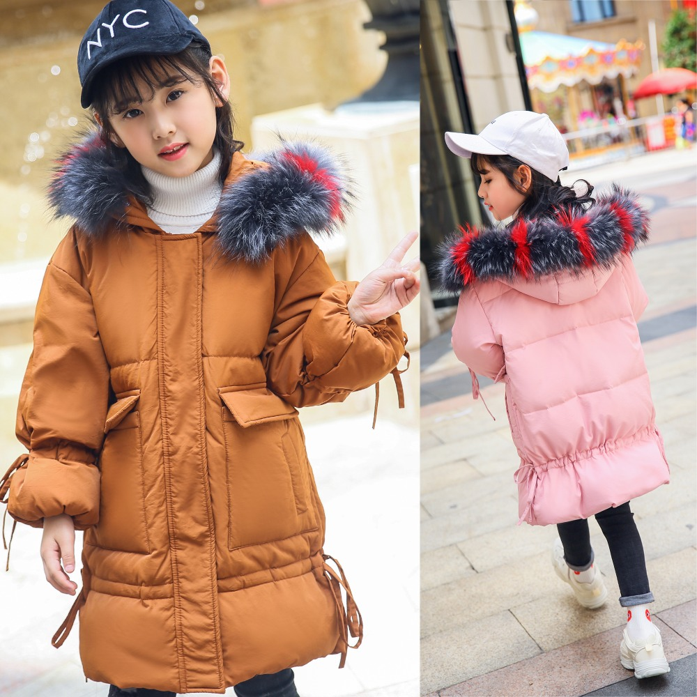 XYF8808 Girl Winter 100% White Duck Down Coat Child Big Fur Collar Keep Warm Thick Hooded Jacket Long Outerwear Boys Windbreaker босоножки moda donna босоножки