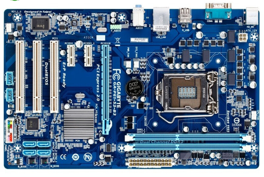 original motherboard for Gigabyte GA-P61-S3-B3 boards 1155 DDR3 P61-S3-B3 mainboard 16GB H61 Desktop motherboard Free shipping
