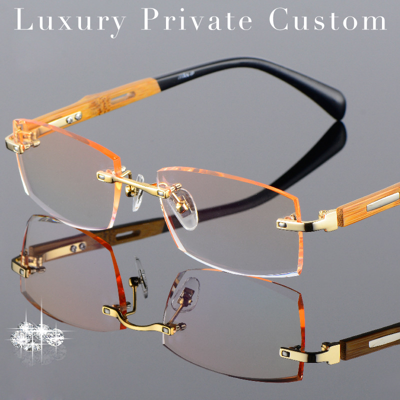 b4b61e5be8d72 Titânio + Bambu Armação de Óculos Sem Aro Homens Óculos de Madeira Moldura  de Ouro Prescrição Míope Óculos de Lente Anti Reflexo Óculos de Ti em Óculos  de ...
