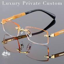 1bb7509e4 Titanium+Bamboo Frame Eyeglasses Rimless Men Gold Wood Glasses Frame  Prescription Myopic Glasses Ti Anti-Reflection Lens Glasses