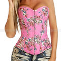 Rosa Demin Floral Overbust Corset casacos Top Lace up Jean Flowers Bustier sml XL 2XL